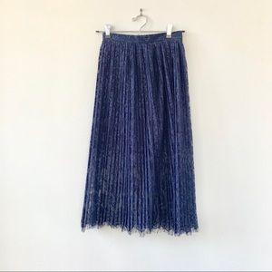 H&M Pleated Lace Overlay Midi Skirt